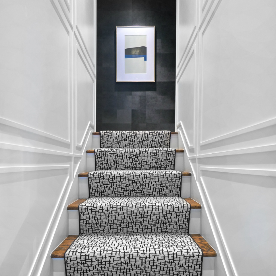 staircase-princeton-nj-interior-design-black-and-white-carpet-runner