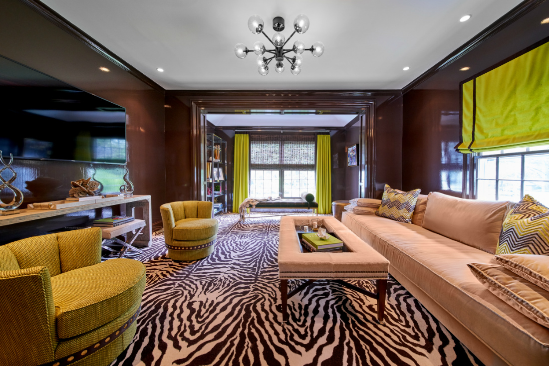 fuller-interiors-study-room-interior-design-zebra-carpet-lime-green-window-treatments