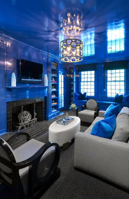 princeton-nj-study-royal-blue-walls-and-ceiling-interior-design