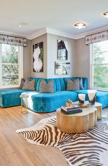 custom-banquette-teal-sofa-zebra-rug-fuller-interiors