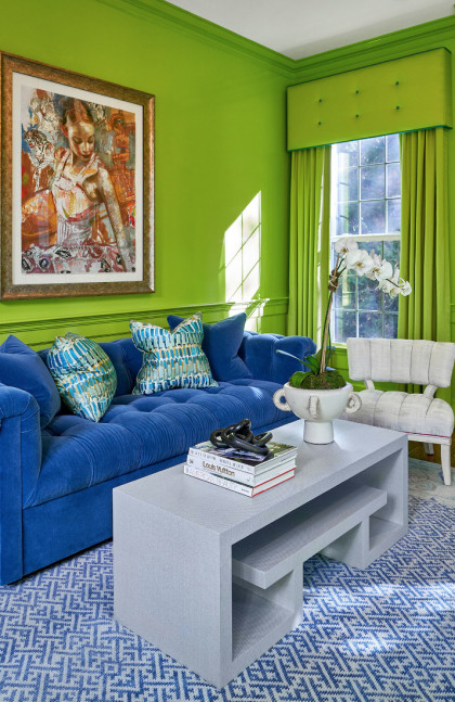 living-room-interior-design-lime-green-walls-blue-upholstered-couch