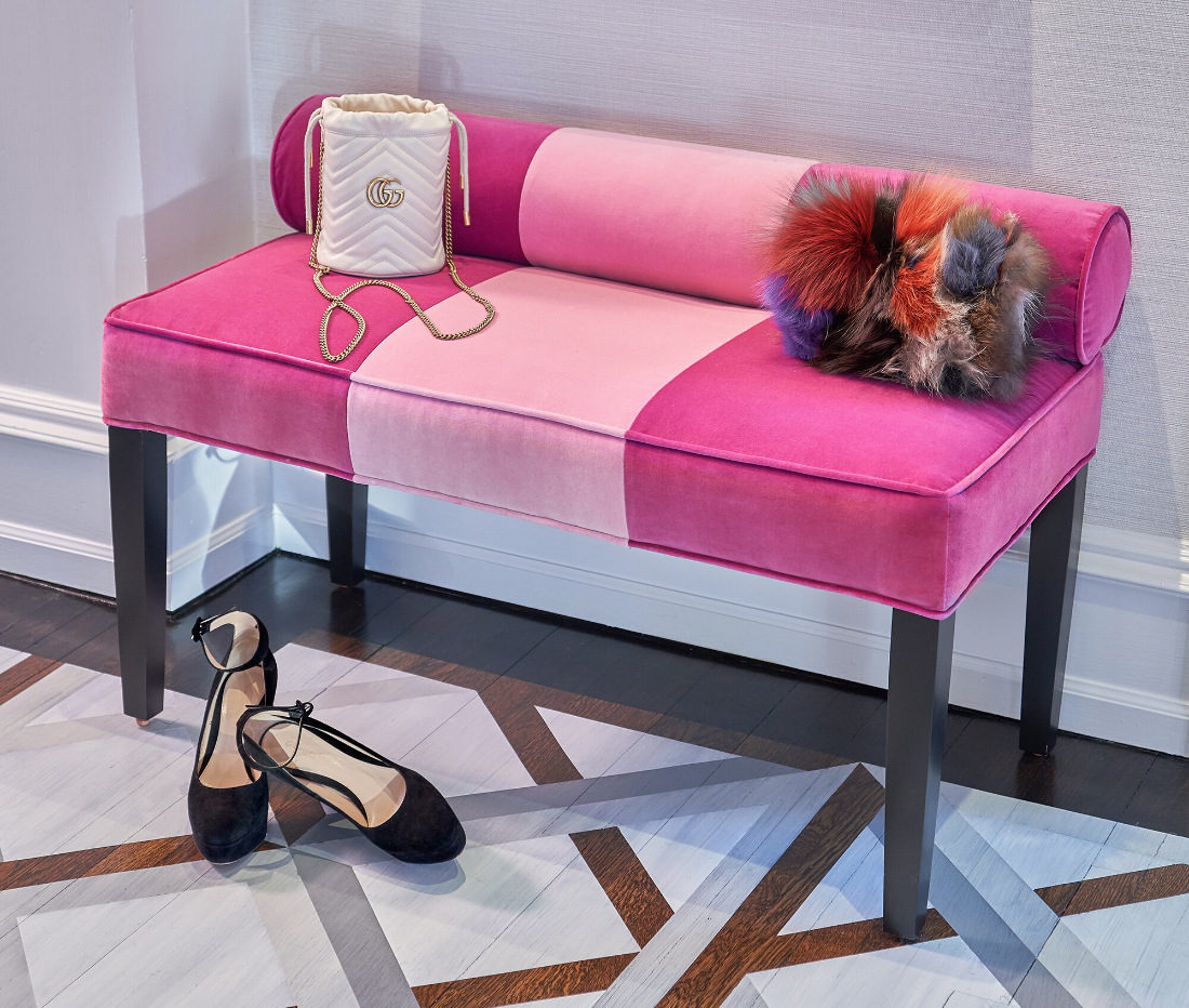 pink-bench-foyer-seating-area-fuller-interiors-high-heels
