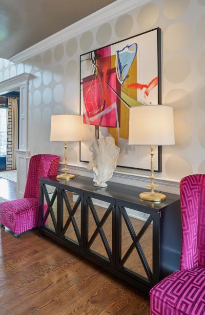 Foyer Hall Pink Chairs Villanova Pa Fuller Interiors 420x647 1