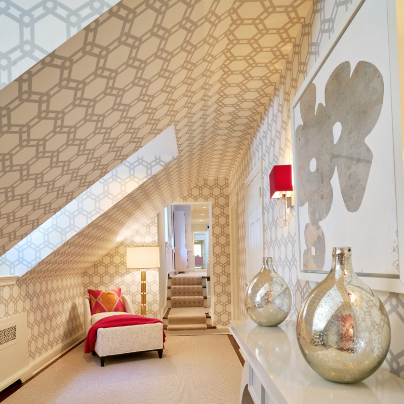 Angled Wall Paper Ceiling Fuller Interiors
