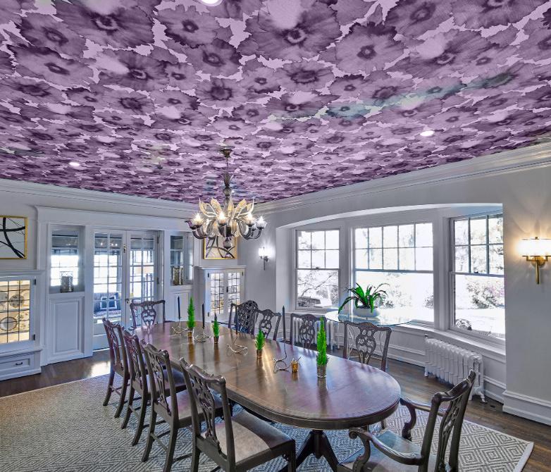 Wayne Pa Floral Purple Wallpaper Ceiling Fuller Interiors